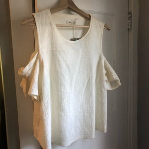 Madewell cream cold shoulder top